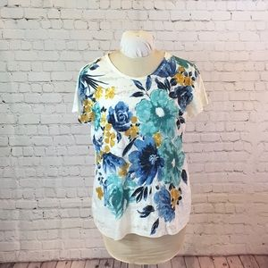 Style&Co 2-piece sheer floral tee w white cami